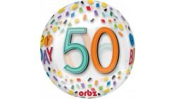 Palloncino BUBBLES numero 50 Anni - Pallone ORBZ tondo Trasparente 40cm