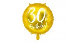 Palloncino foil mylar 30 ANNI colore ORO - gonfiabile ad aria o ad elio - 45 cm