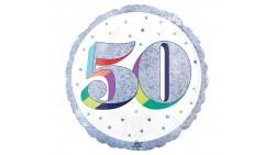 Palloncino foil mylar 50 ANNI Argento POP ART - gonfiabile ad aria o ad elio - 45 cm