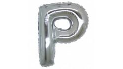 PALLONCINO Pallone LETTERA P ARGENTO in MYLAR foil 21cm