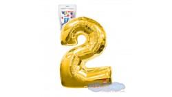 Pallone numero 2 DUE ORO - PALLONCINO numerale in MYLAR foil - 1 mt