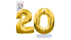 Pallone numero 20 VENTI ORO - PALLONCINO numerale in MYLAR foil - 1 mt