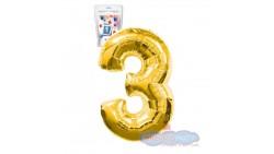 Pallone numero 3 TRE ORO - PALLONCINO numerale in MYLAR foil - 1 mt