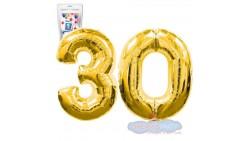 Pallone numero 30 TRENTA ORO - PALLONCINO numerale in MYLAR foil - 1 mt