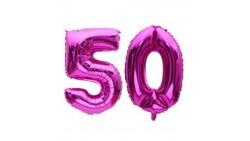 Pallone numero 50 Cinquanta - FUXIA in MYLAR foil - PALLONCINO numerale 41cm