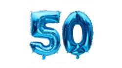 Pallone numero 50 Cinquanta BLU in MYLAR foil - PALLONCINO numerale 41cm