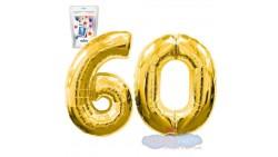 Pallone numero 60 SESSANTA ORO - PALLONCINO numerale in MYLAR foil - 1 mt