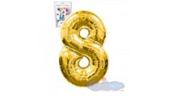 Pallone numero 8 OTTO ORO - PALLONCINO numerale in MYLAR foil - 1 mt