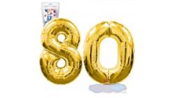 Pallone numero 80 OTTANTA ORO - PALLONCINO numerale in MYLAR foil - 1 mt