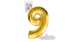 Pallone numero 9 NOVE ORO - PALLONCINO numerale in MYLAR foil - 1 mt