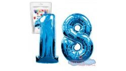 Pallone PALLONCINO numero 18 DICIOTTO BLU numerale in MYLAR foil 100cm