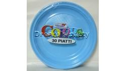 PIATTO PLASTICA PIANO CELESTE PZ 30 CM 22