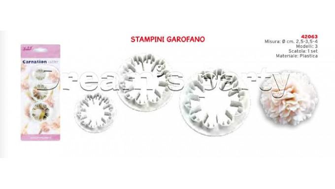 SET 3 STAMPI GAROFANO DIMENSIONE 2,5-3,5-4 CM