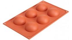 Stampo in silicone alimentare SEMISFERA - 6 cavità - Ø7xh3,5cm - torte e dolci