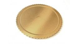 Vassoio tondo ALA Ø38cm - oro/nero in cartone, piatto sottotorta rigido circolare