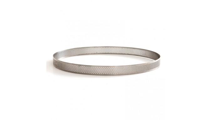 Sagoma microforata tonda - cerchio CROSTATA - Ø24xh3,5cm- Fascia in acciaio inox