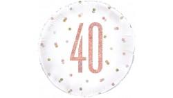 Palloncino numero 40 ANNI Rosa Gold e Oro Ø45cm pallone gonfiabile elio o aria