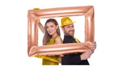 Pallone PALLONCINO in mylar CORNICE SELFIE ROSA GOLD- Photo Booth - 60x85cm