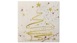 20 TOVAGLIOLI in carta ORO con Albero e stelle natale - addobbo tavola natalizia