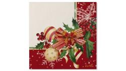 20 TOVAGLIOLI in carta ROSSO AGRIFOGLIO fiori natale - addobbo tavola natalizia
