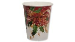 8 Bicchieri in carta compostabile ROSSO AGRIFOGLIO fiori natale tavola natalizia