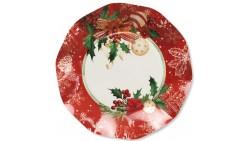 8 PIATTI Ø21cm in carta ROSSO AGRIFOGLIO e fiori natale addobbo tavola natalizia
