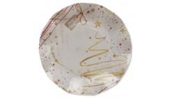 8 PIATTI Ø27cm in carta ORO Albero di natale e stelle addobbo tavola natalizia