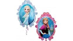 1 Pallone PALLONCINO in foil MYLAR FROZEN regno di ghiaccio Elsa e Anna 84X70 cm