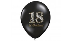 10 PALLONCINI in lattice nero stampa 18 & Brilliant - 18 anni - Ø12 in/ 30cm