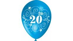 10 Pallone PALLONCINI in LATTICE stampa numero 20 colori assortiti - per decorazione addobbo feste, party, 20 anni, anni