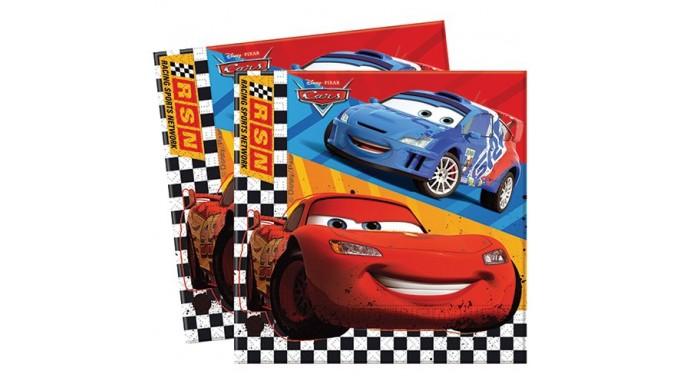 20 Tovaglioli CARS 33x33cm - addobbo decoro tavolo torta - Saetta McQueen
