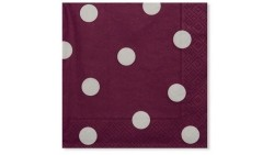 20 Tovaglioli POIS PRUGNA in carta monouso 33x33cm 3 veli - addobbo decoro tavola
