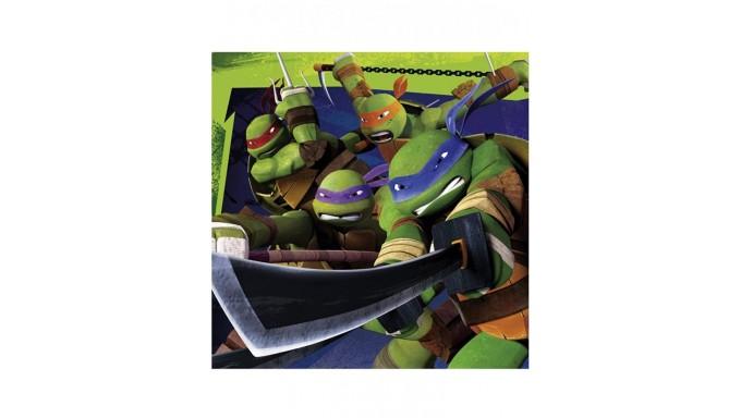 20 Tovaglioli Tartarughe Ninja 33x33cm - addobbo decoro tavolo torta - festa per bambini
