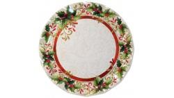 5 SottoPiatto Ø32,4cm in carta - AGRIFOGLIO di Natale - addobbo decoro tavola
