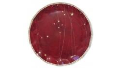5 SottoPiatto Ø32,4cm in carta - Natale Rosso con stelle - addobbo decoro tavola