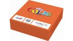 50 TOVAGLIOLI Arancio ARANCIONE in carta monouso Tovagliolo pura cellulosa 2veli
