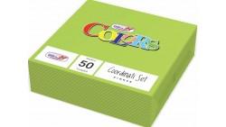 50 TOVAGLIOLI Verde Acido in carta monouso - Tovagliolo di pura cellulosa 2 veli
