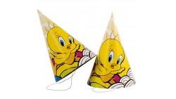 6 Cappellini Tweety uccellino titty - addobbo decoro tavola festa compleanno