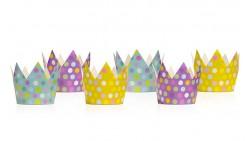 6 CORONE coroncine da Re o Principessa A POIS multicolor - Bambini