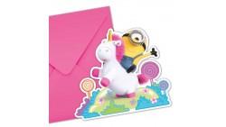 6 Inviti fluffy MINIONS con busta - per festa party di compleanno per bambini