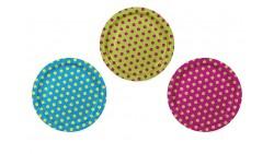 6 PIATTI Pois multicolor - per feste, party, compleanni bambini - 23cm