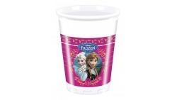 8 Bicchieri FROZEN decoro Tavolo - in plastica 200ml - con Elsa e Anna