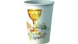 8 Bicchieri in cartoncino PRIMA COMUNIONE - con calice, grano e bibbia - 20cl