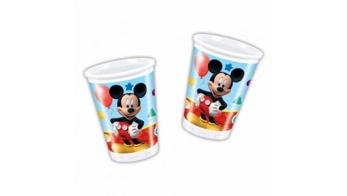 8 Bicchieri TOPOLINO 200ml - addobbo decoro tavolo torta - festa per bambini