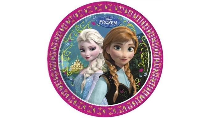 8 Piatti FROZEN decoro Tavolo - in carta monouso Ø23cm - con Elsa e Anna