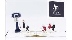 Biglietto augurale ORIGAMO con BASKETBALL - compleanno generico - POP UP - realizzato a mano
