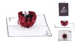 Biglietto augurale ORIGAMO con CAFFE' - compleanno generico - POP UP - realizzato a mano