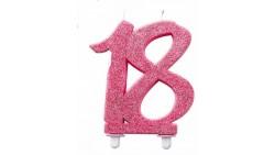 Candela MAXI 18 anni ROSA GLITTER - candela numero numerale per torte