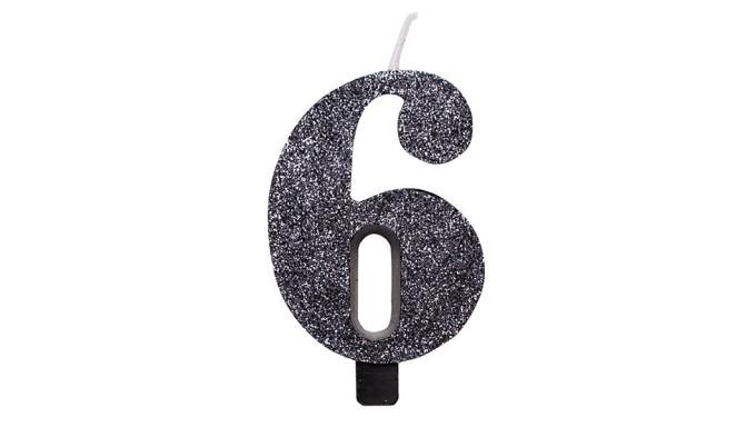 CANDELA numero 6 NERO GLITTER per torta - candelina in cera numerale per dolci