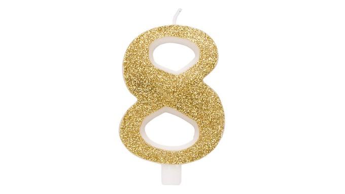 CANDELA numero 8 ORO GLITTER per torta - candelina in cera numerale per dolci